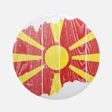 Macedonia Flag And Map Ornament (Round)