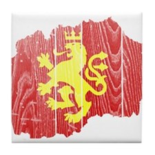 Macedonia Lion Flag And Map Tile Coaster