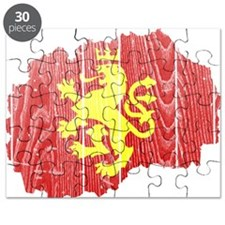 Macedonia Lion Flag And Map Puzzle