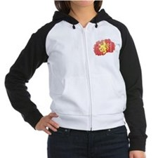 Macedonia Lion Flag And Map Women's Raglan Hoodie