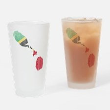 Saint Kitts And Nevis Flag And Map Drinking Glass