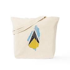 Saint Lucia Flag And Map Tote Bag