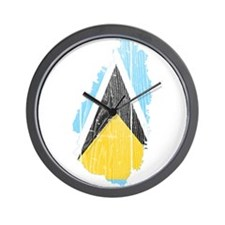 Saint Lucia Flag And Map Wall Clock