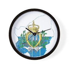 San Marino Flag And Map Wall Clock