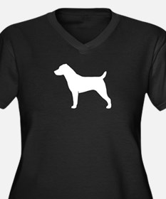 Jack Russell Women's Plus Size V-Neck Dark T-Shirt