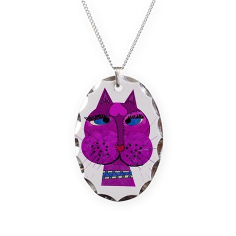 Cross-eyed Over You Kitty Necklace Oval Charm