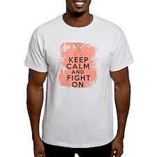 Uterine Cancer Keep Calm Fight On T-Shirt