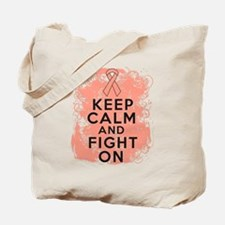 Uterine Cancer Keep Calm Fight On Tote Bag