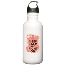 Uterine Cancer Keep Calm Fight On Water Bottle