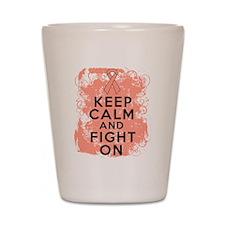 Uterine Cancer Keep Calm Fight On Shot Glass