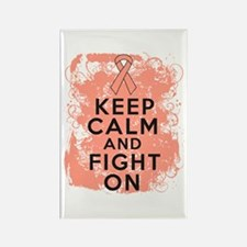 Uterine Cancer Keep Calm Fight On Rectangle Magnet