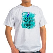 Thyroid Cancer Keep Calm Fight On T-Shirt