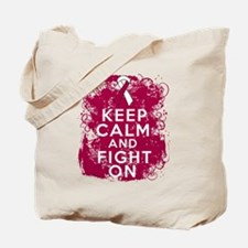 Throat Cancer Keep Calm Fight On Tote Bag