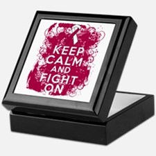 Throat Cancer Keep Calm Fight On Keepsake Box