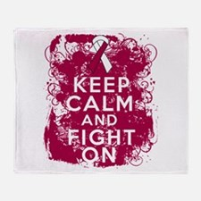 Throat Cancer Keep Calm Fight On Throw Blanket