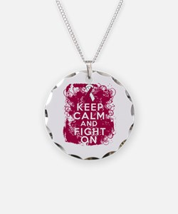 Throat Cancer Keep Calm Fight On Necklace