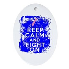Male Breast Cancer Keep Calm Fight On Ornament (Ov