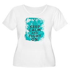 Ovarian Cancer Keep Calm Fight On T-Shirt