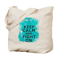 Ovarian Cancer Keep Calm Fight On Tote Bag
