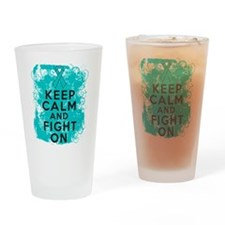 Ovarian Cancer Keep Calm Fight On Drinking Glass