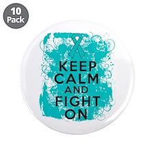 "Ovarian Cancer Keep Calm Fight On 3.5"" Button (10"