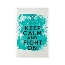 Ovarian Cancer Keep Calm Fight On Rectangle Magnet