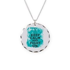Ovarian Cancer Keep Calm Fight On Necklace