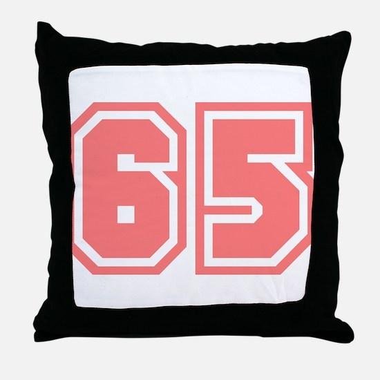 Varsity Uniform Number 65 (Pink) Throw Pillow