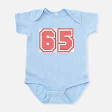 Varsity Uniform Number 65 (Pink) Infant Creeper