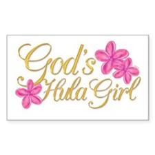 God's Hula Girl Rectangle Decal