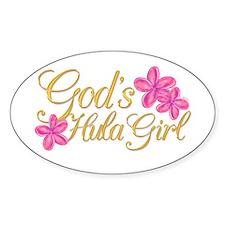 God's Hula Girl Oval Decal