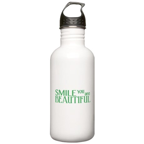 Smile you are Beautiful, Green Stainless Water Bot