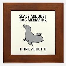 Seals are just dog mermaids. Framed Tile