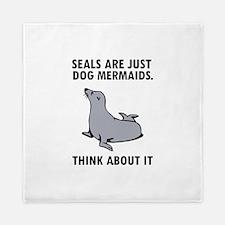 Seals are just dog mermaids. Queen Duvet