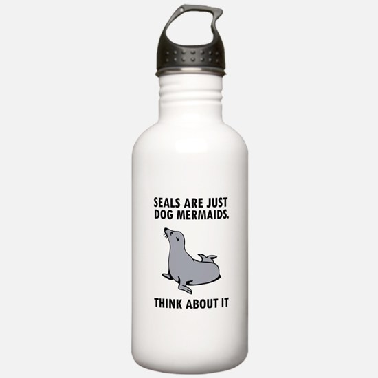 Seals are just dog mermaids. Sports Water Bottle