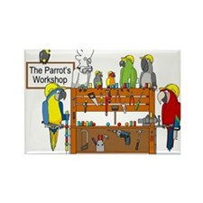 The Parrot's Workshop Logo Rectangle Magnet