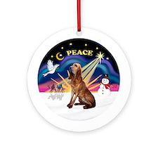 XmasSunrise-Bloodhound Ornament (Round)
