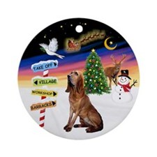 Xmas Signs - Bloodhound Ornament (Round)
