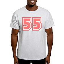 Varsity Uniform Number 55 (Pink) Ash Grey T-Shirt