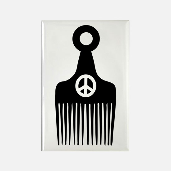 Afro Hair Peace Rectangle Magnet