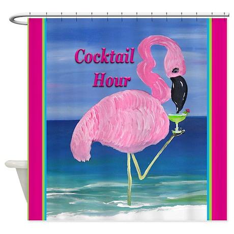 Flamingo Cocktail Hour Shower Curtain