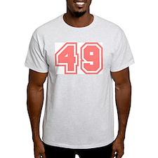 Varsity Uniform Number 49 (Pink) Ash Grey T-Shirt