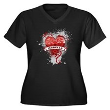 Love Isabella Women's Plus Size V-Neck Dark T-Shir