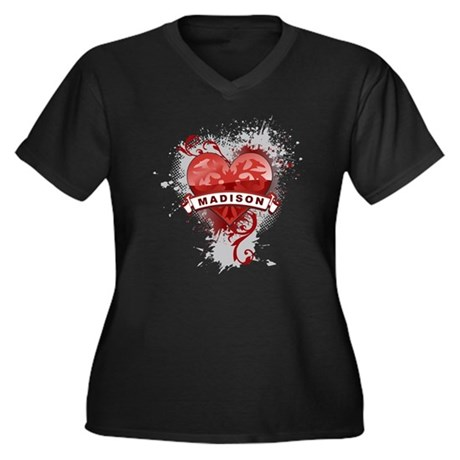Love Madison Women's Plus Size V-Neck Dark T-Shirt