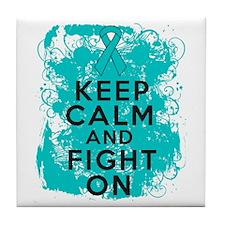 Peritoneal Cancer Keep Calm Fight On Tile Coaster
