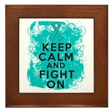 Peritoneal Cancer Keep Calm Fight On Framed Tile