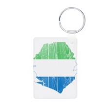 Sierra Leone Flag And Map Aluminum Photo Keychain