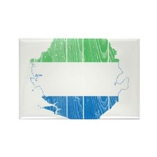 Sierra Leone Flag And Map Rectangle Magnet