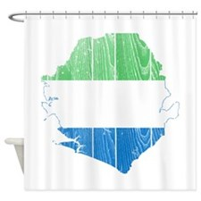 Sierra Leone Flag And Map Shower Curtain