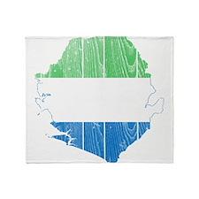 Sierra Leone Flag And Map Throw Blanket